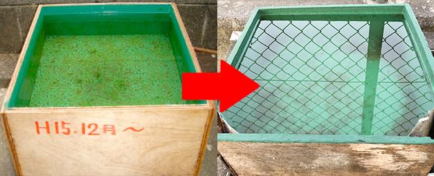 ガーディアンを塗ったべニア板で防水試験を行った様子