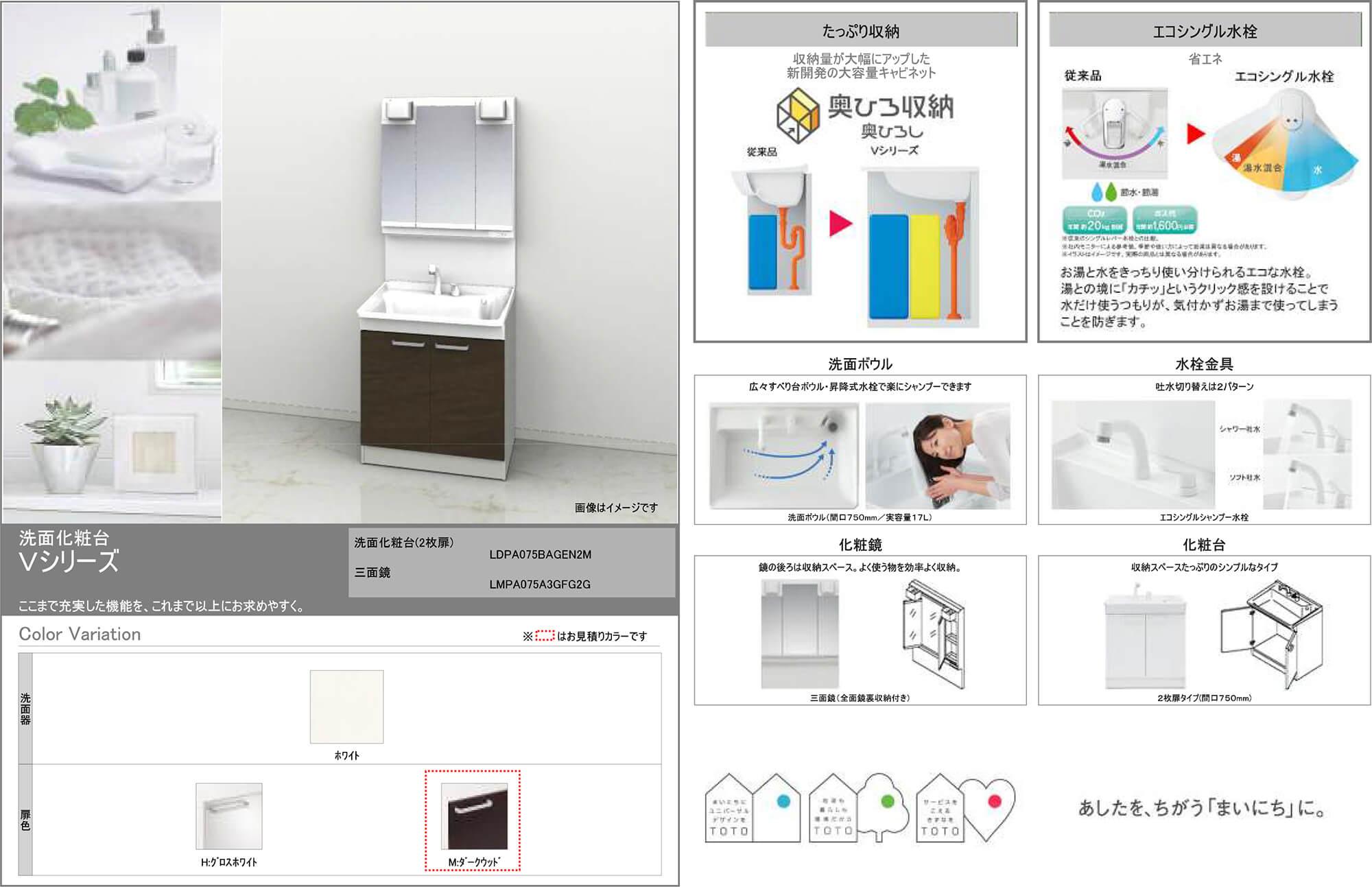 洗面化粧台カタログの画像