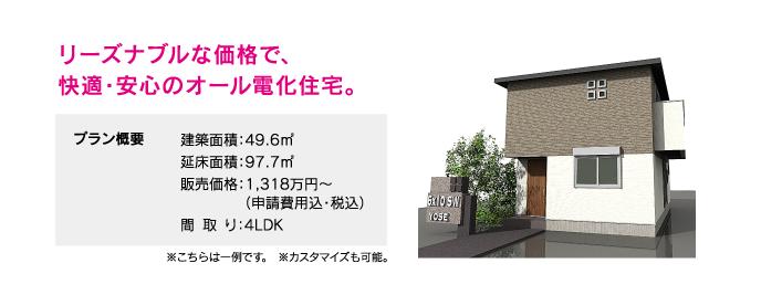 リーズナブルな価格で、快適・安心のオール電化住宅。【プラン概要】建築面積:49.6㎡、延床面積:99.3㎡、販売価格:1,318万円〜(申請費用込・税込)、間取り:4LDK ※こちらは一例です。 ※カスタマイズも可能。